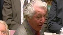 Labour MP Dennis Skinner speaks during Prime Minister's Questions in the House of Commons, London.