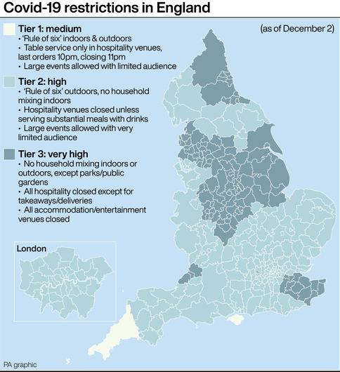 Covid-19 restrictions in England (PA Graphics)
