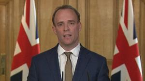 Foreign Secretary Dominic Raab during a media briefing in Downing Street, London, on coronavirus (PA)