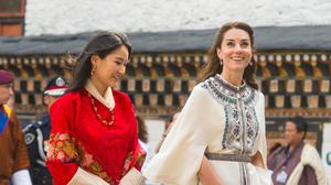 The Duchess of Cambridge with Queen of Bhutan Jetsun Pema at Tashichho Dzong, in Thimphu, Bhutan, on day five of the royal tour to India and Bhutan.