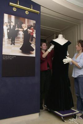 The Victor Edelstein dress worn by Diana at the White House where she famously danced with John Travolta ( Johnny Green/PA)