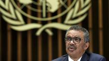 Dr Tedros Adhanom Ghebreyesus gives an update on the Covid-19 outbreak (Salvatore Di Nolfi/Keystone via AP)