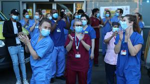 NHS staff outside the Royal London Hospital in Whitechapel (Yui Mok/PA)