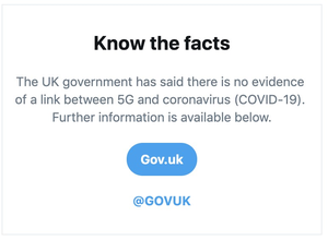 The prompt will direct users to Government information on 5G. (Twitter)
