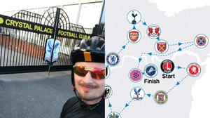 Matt Cusworth cycled to the stadiums individually during lockdown, but now plans a bigger journey (Matt Cusworth)