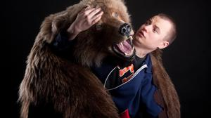 Bear attacking a human