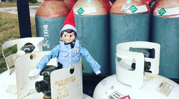 Peppermint the Elf On The Shelf working with Pflygerville Police Department