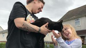 Gerald reunited with Rachel Williams and Maci-Rae (RSPCA)