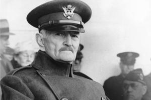 John J. Pershing appears in uniform at Armistice Day, 1942