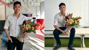Jon poses for photos with the flowers he thought were for him at work – (@clickdominique)