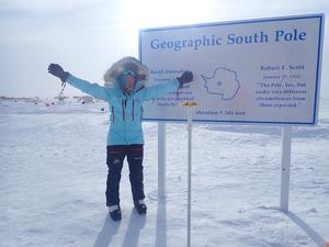 Mollie Hughes at the South Pole (Beeline PR/PA)