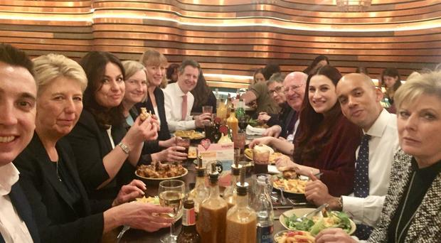 The Independent Group of MPs settling down for a meal at Nando's (Chuka Umunna)