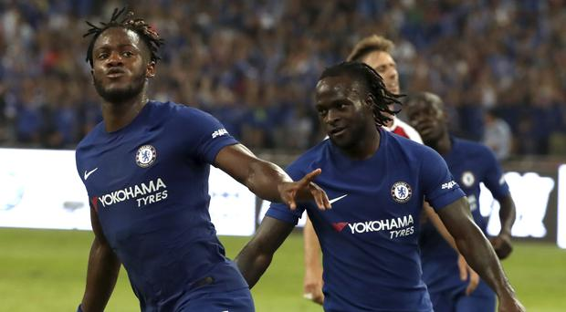 Chelsea's Michy Batshuayi and Victor Moses – (Mark Schiefelbein/AP)