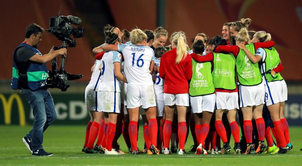England's women's team celebrate beating France at the 2017 European Championships – (Mike Egerton/PA)