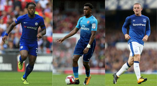 Peaches from Michy Batshuayi, Alex Iwobi and Wayne Rooney (Nigel French/PA, Steven Paston/EMPICS Sport, Barrington Coombs/PA)
