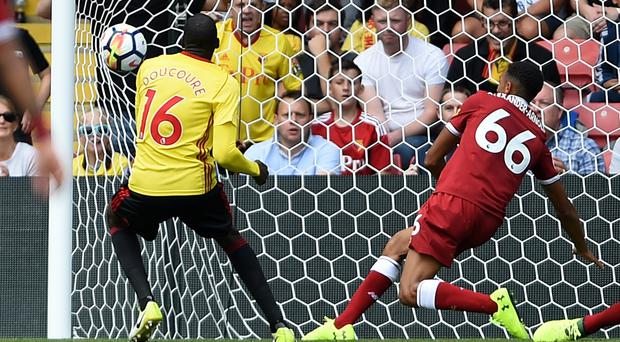 Watford's Abdoulaye Doucoure scores against Liverpool in the Premier League (Daniel Hambury/PA)