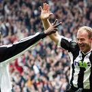 Alan Shearer celebrates his 200th Premier League goal