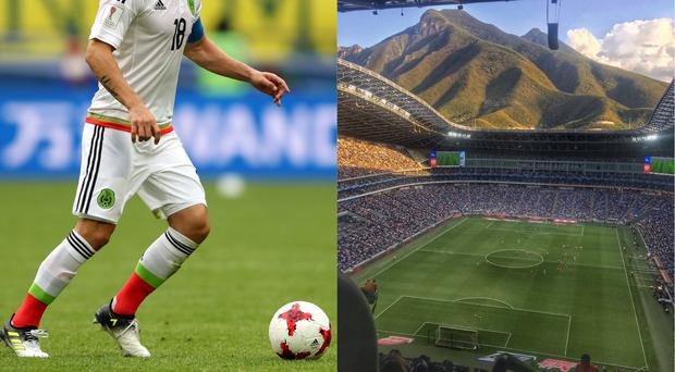 Mexican player Andres Guardado and the stadium
