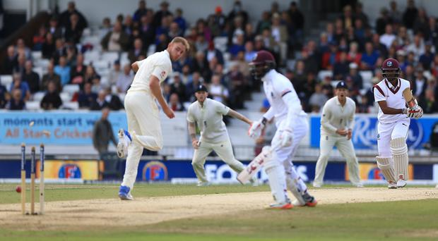 Stuart Broad fortunately runs Kyle Hope out