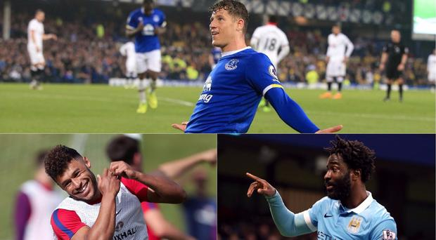Everton's Ross Barkley celebrates scoring his side's first goal of the game