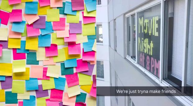 Post-it notes placed on a window by students