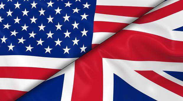 Flags of the USA and UK divided diagonally