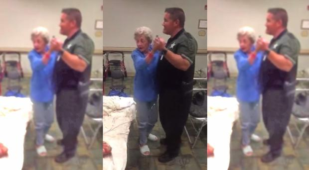 Screengrabs from video of sheriff deputy dancing with resident