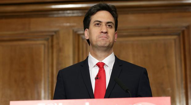 Ed Miliband speaks to the media and party supporters at One Great George Street in London
