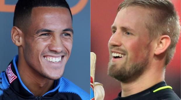 Tom Ince and Kasper Schmeichel