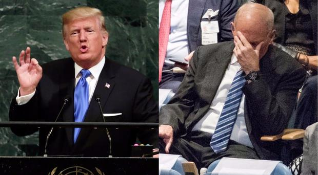 Donald Trump speaking at UN and his White House Chief of Staff John Kelly