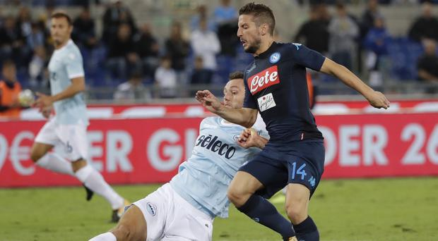 Napoli's Dries Mertens plays against Lazio
