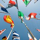 A group of international flags