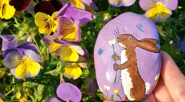 A hare on a painted rock hidden by Kathy Fournier in Washington State.