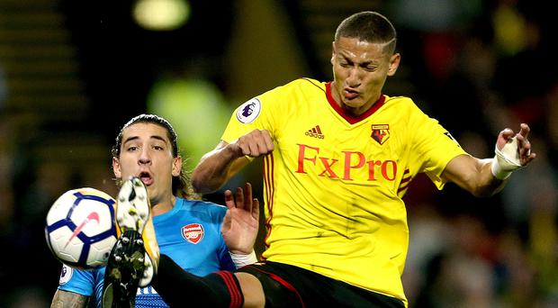 Arsenal's Hector Bellerin and Watford's Richarlison