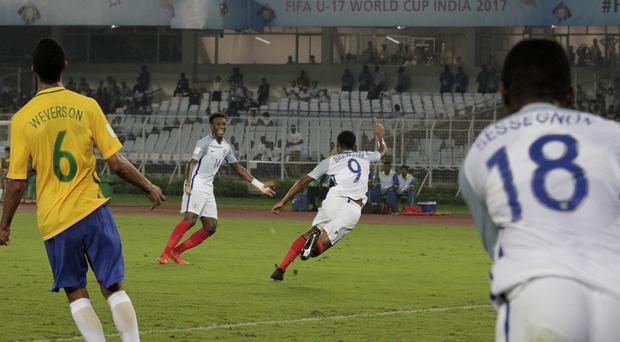 England's Rhian Brewster celebrates scoring a goal against Brazil at the Under-17 World Cup
