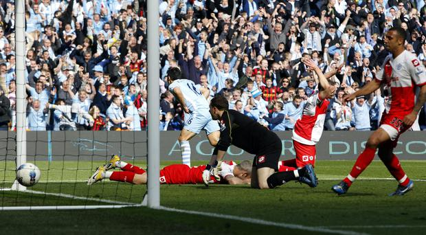 Sergio Aguero scores against QPR