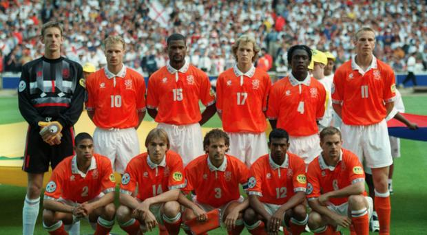The Netherlands team ahead of their game against England at Euro 96