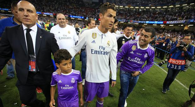 Real Madrid's Cristiano Ronaldo with his son after the 2017 Champions League final