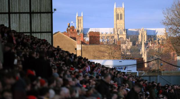 General view of Lincoln Cathedral during the Emirates FA Cup, fourth round match at Sincil Bank, Lincoln