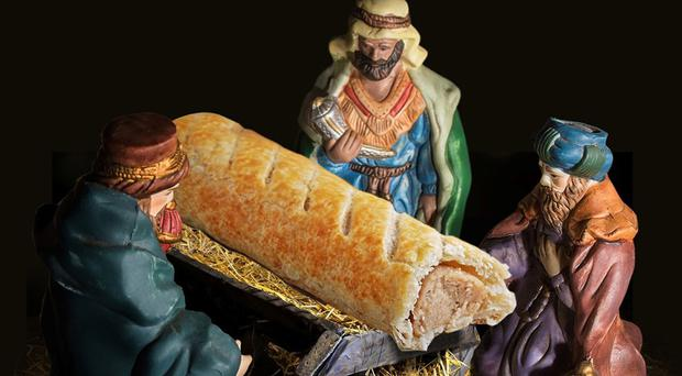 an image used in the Greggs Advent calendar, the bakers have apologised for placing a sausage roll in the Nativity scene (Taylor Herring/Greggs/PA)