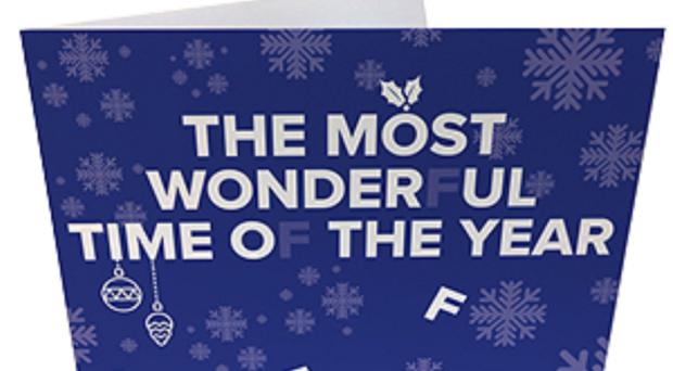 The card with letters falling off