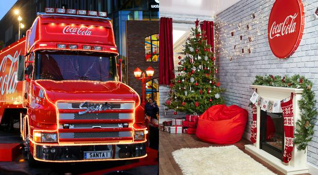 The outside and inside of the Coke Christmas truck