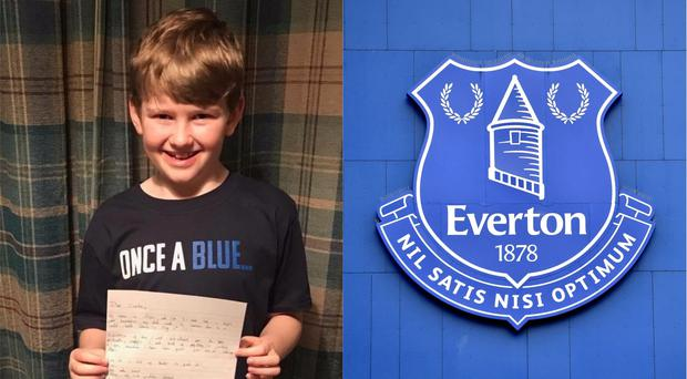 Alfie with his letter and the Everton badge