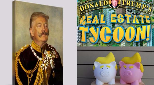 A collection of Donald Trump-themed presents