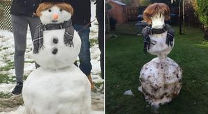 Before and after of a snowman (PA)
