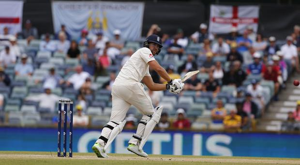 England's Dawid Malan plays a shot during day five of the Ashes Test match at the WACA ground, Perth (Jason O'Brien/PA)