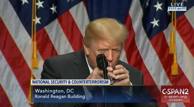 Trump Mocked For Awkward, Two-Handed Water Drinking During National Security Speech