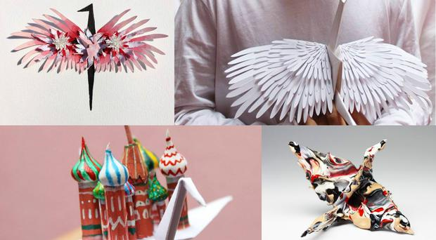 Paper cranes made by artist Cristian Marianciuc