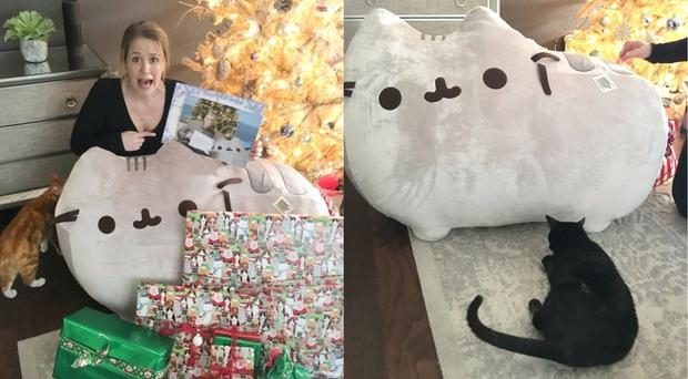 Megan and her cat pose for a photo with the gifts Bill Gates sent