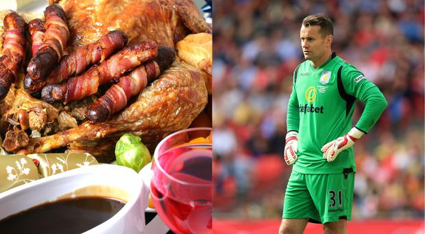 A close-up of a traditional Christmas dinner and former Newcastle United goalkeeper Shay Given